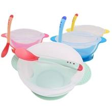 Tazón de alimentación de bebé + juego de cuchara vajilla de bebé de dibujos animados para niños plato de entrenamiento Anti-caliente platos herramientas para comer