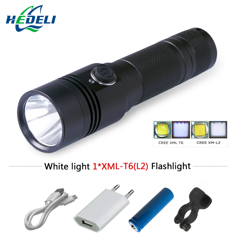 Mini led flashlight waterproof portable cree xml t6 l2 flashlight rechargeable battery 18650 camping outdoor bicycle lighting