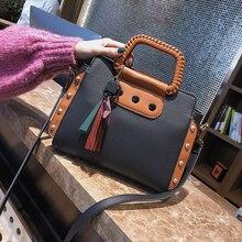 ETAILL Fashion Pu Leather Women Shoulder Bags Famous Designer Vintage Tassel Large Rivets Women Messenger Bags