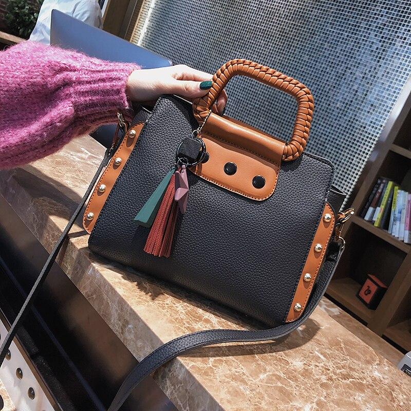 ETAILL Fashion Pu font b Leather b font Women Shoulder Bags Famous Designer Vintage Tassel Large