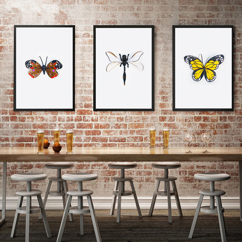 Gohipang Scandinavian Style Butterfly Canvas Painting Dragonfly Poster And Prints Simple Wall Art Picture Living Room Home Decor Painting Calligraphy Aliexpress