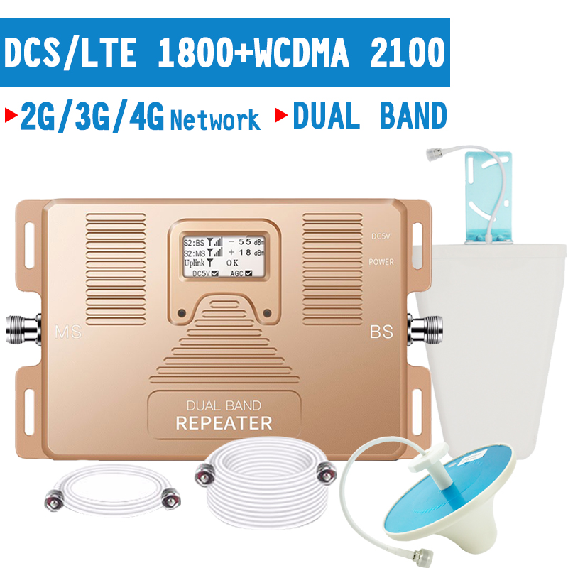 Walokcon 2G 3G 4G Mobile Phone Signal Booster GSM LTE 1800 WCDMA 2100 Signal Repeater 70dB Gain Bnad 1 4G Amplifier LCD Display