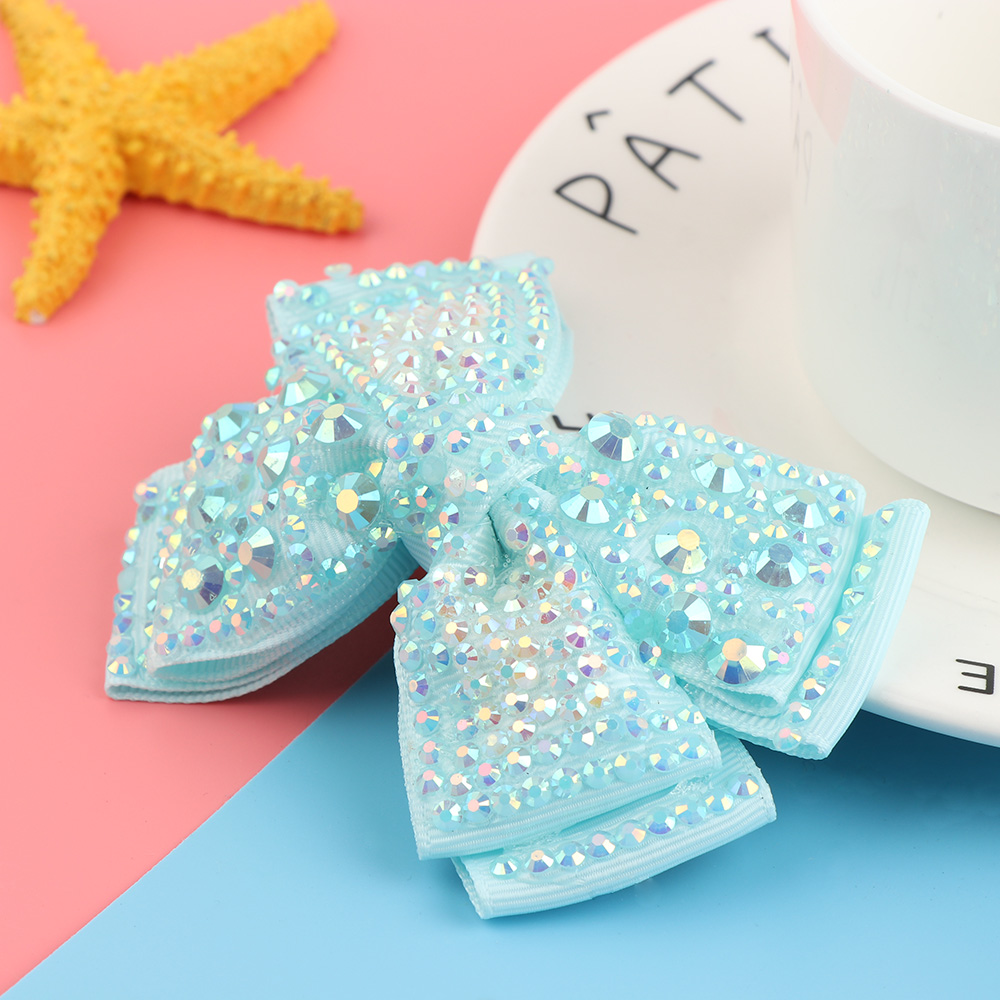 4 Grosgrain Ribbon Hair Bows With Sequins Rhinestone Hair Clips Hairpins Barrettes For Girls Hair Accessories usd1 69 pc 5inches big stacked boutique bows with 6cm hair clip hairpin 8 colors solid grosgrain ribbon bows hair accessories
