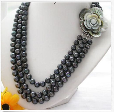 jewerly free shipping 3 rows AAA10-11mm tahitian TAHITIAN BLACK PEARL NECKLACE 181920
