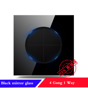 EU France Germany UK socket Full set of 86 type 1 2 3 4 gang 1 2way black mirror glass wall switch LED light switch Industry 19