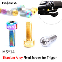 RISK 2PCS M5*14mm Titanium Alloy Brake Trigger Bolt For MTB Derailleur Lever Fixed Screw For Cycling Bicycle Thumb Shifter M5x14