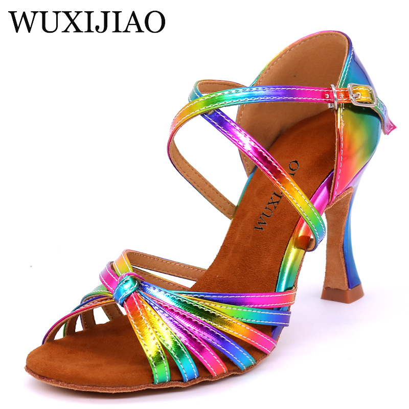 WUXIJIAO Latin Dance Shoes Rainbow Colors Bright PU Women's Salsa Elegant Ballroom Dancing Shoes Soft Outsole Cuba High Heel 9cm