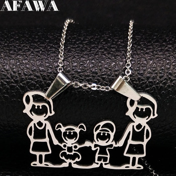 Unisex Family Necklace Jewelry Necklaces Women Jewelry Metal Color: new 2mom1 boy 1girl