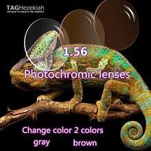 1.56 asferico photochromism lenti da vista occhiali da lettura lenti di alta qualità su ordinazione grigio/marrone