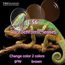 1.56 aspheric photochromism prescription lenses high quality custom reading glasses lenses gray / brown
