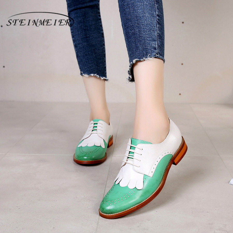 Genuine sheepskin leather brogue yinzo ladies flat shoes vintage handmade sneaker oxford shoes for women 2018 green red yellow genuine leather woman size 9 designer yinzo vintage flat shoes round toe handmade black grey oxford shoes for women 2017