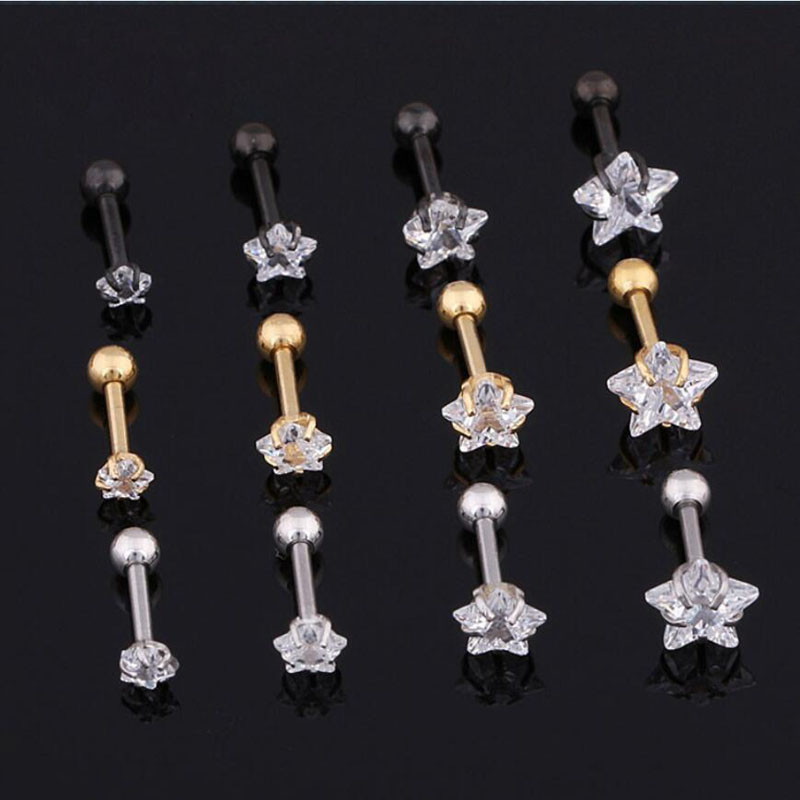 New Arrival 5AAAAA Zircon Crystal Star Tragus Piercing Ear Cartilage Earring Body Piercing Jewelry Wholesale