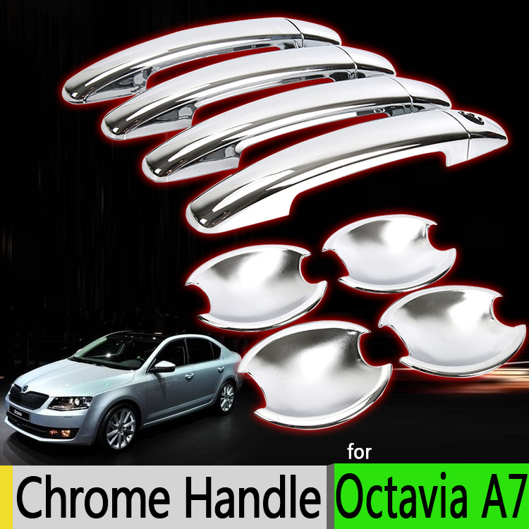For Skoda Octavia a7 2012-2016 Chrome Door Handle Covers Trim Set of 4 Door Mk3 Accessories Stickers Car Styling 2013 2014 2015 2016 mini clubman one coopers side door power window switch center console panel covers accessories car stickers for f54 6 door page 4