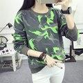 Otoño Nueva Moda Fluorescente Camuflaje Terry Hoodies de Las Mujeres Chándal Pullover Camiseta Ocasional Floja Femenina Harajuku M-XXL