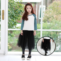 Mesh Little Teenage Girls Skirts Long With Pants Autumn Spring 2017 Black Mid Calf Princess Tulle