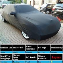 UXCELL Universal Negro transpirable tela impermeable cubierta del coche w espejo de bolsillo de nieve de invierno verano completo coche protección cubre