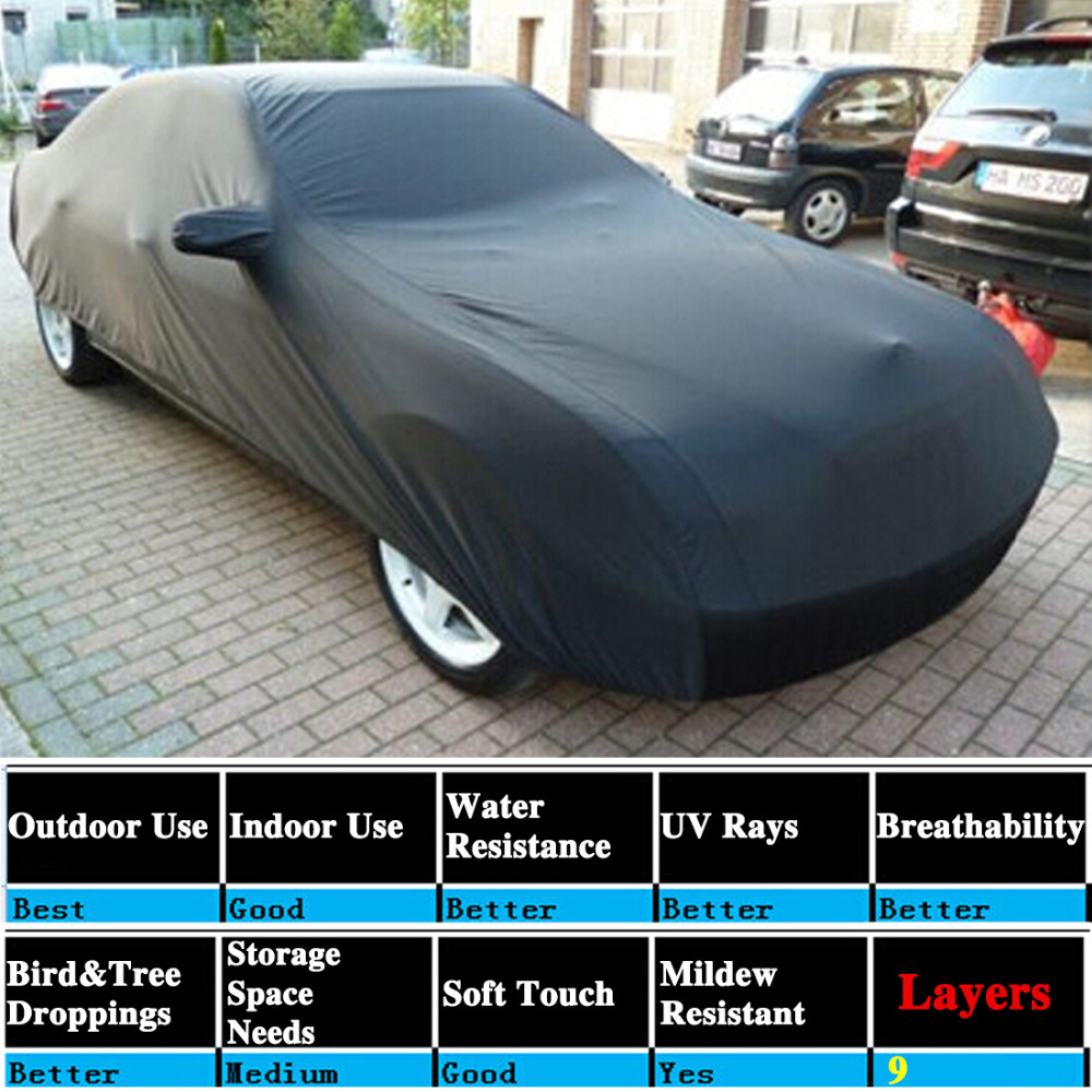 X Autohaux Universal Black Breathable Waterproof Fabric Car Cover w Mirror Pocket Winter Snow Summer Full Car Protection COVERSX Autohaux Universal Black Breathable Waterproof Fabric Car Cover w Mirror Pocket Winter Snow Summer Full Car Protection COVERS