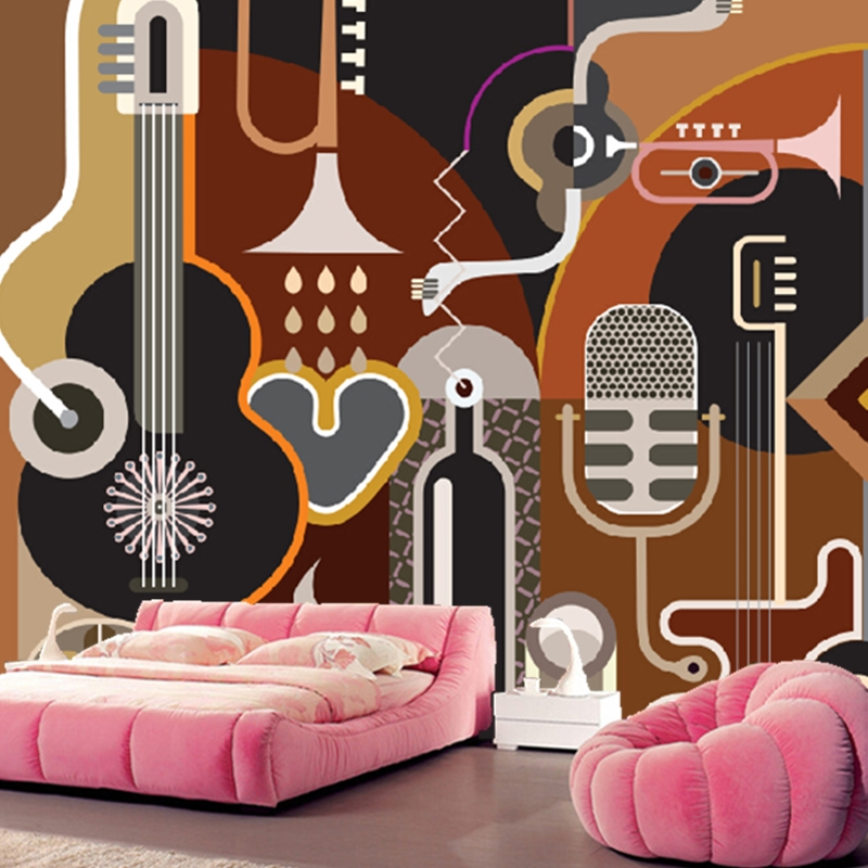 Custom papel DE parede infantil,abstract guitar music murals for children room living room TV wall waterproof wallpaper custom papel de parede infantil see graffiti mural for sitting room sofa bedroom tv wall waterproof vinyl which wallpaper