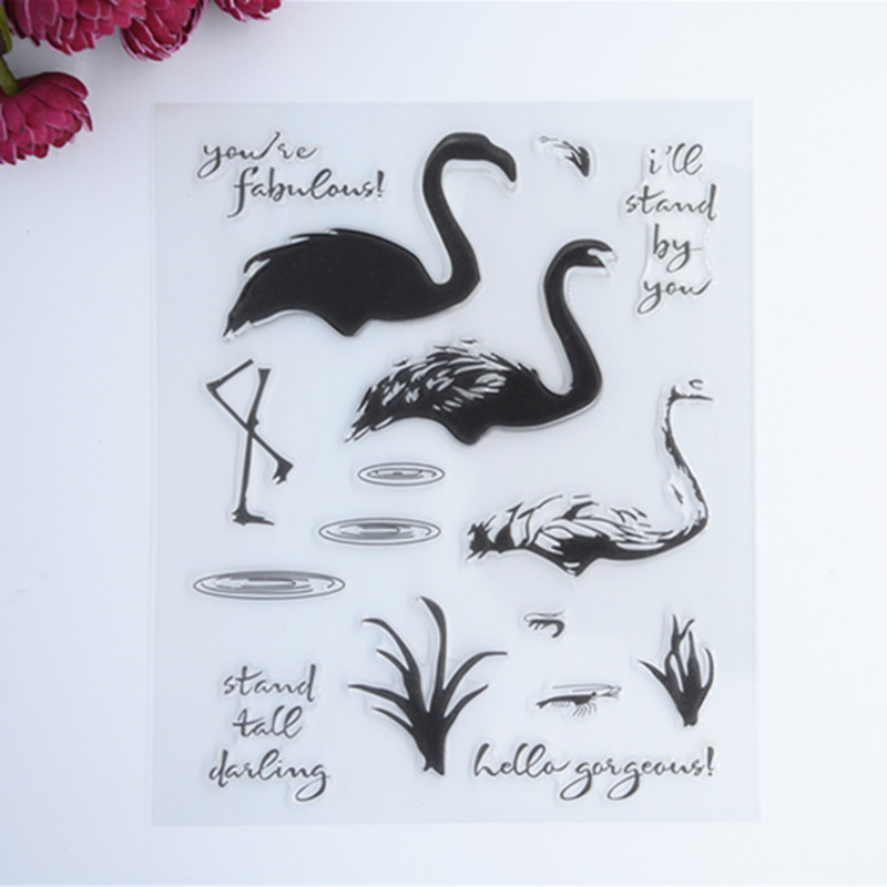 2016 New Scrapbook DIY Photo Album Cards Transparent Acrylic Silicone Rubber Clear Stamps color SWAN wyf1017 scrapbook diy photo album cards transparent silicone rubber clear stamp 11x16cm camera