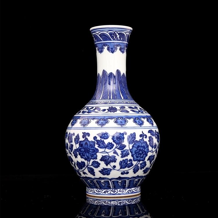 2 Антикварный, Династия Цин фарфоровая ваза, синий и белый ваза 25 ручной работы/коллекция и украшением в виде банта, Бесплатная доставка