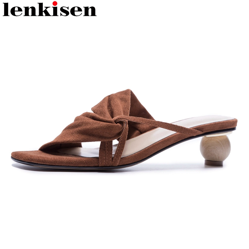 Lenkisen 2018 superstar genuine leather peep toe slip on vacation slipper strange style summer mules med heels women sandals L08 2018 kid suede brand summer shoes peep toe slingbacks women sandals runway fur strange style med heels casual vacation shoes l30