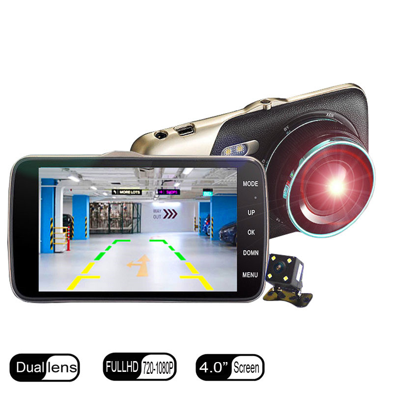 Original 4 Inch IPS Screen Car DVR Camera FHD 1080P Dual Lens Rear View Double Recorded Vehicle Traveling Data Recorder Dash Cam