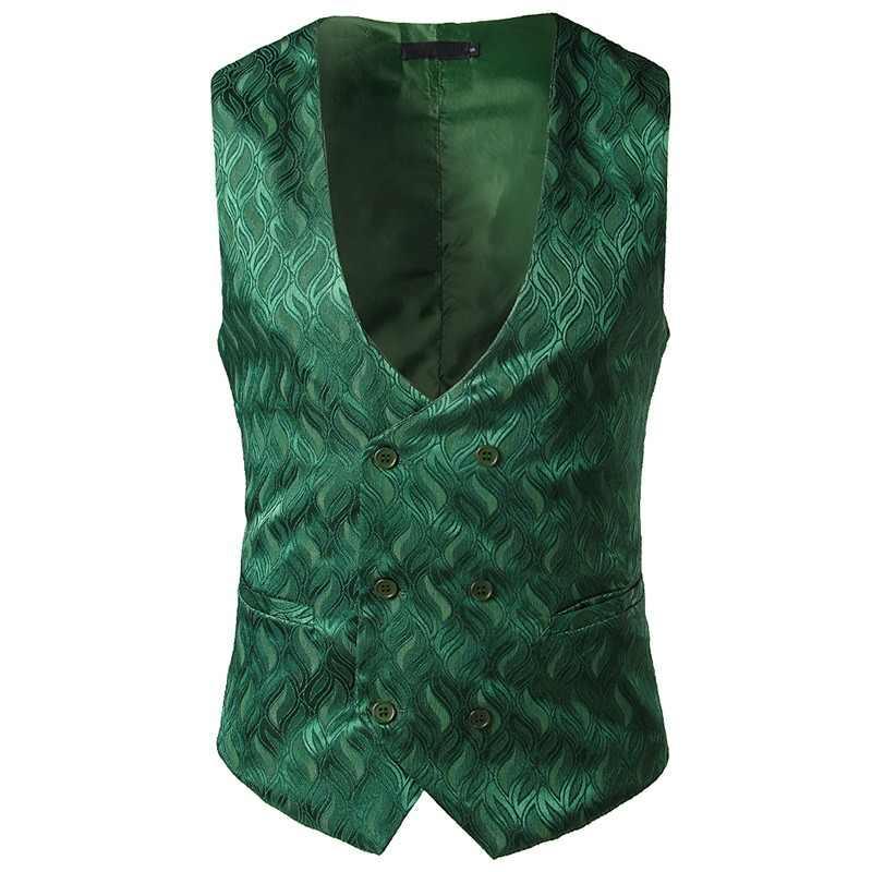 712599e85f1 Moda Jacquard cruzado traje chaleco hombres 2018 nuevo Nightclub sin mangas chaleco  hombres Wedding Tuxedo vestido