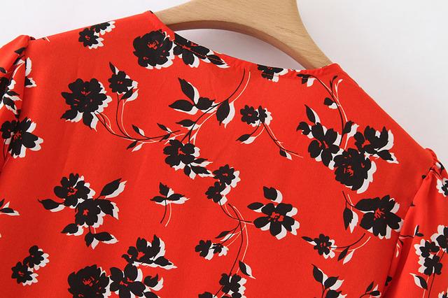 Vadim women floral print mid calf shirt dress long sleeve o neck pleated female casual retro midi dresses vestidos mujer QB295