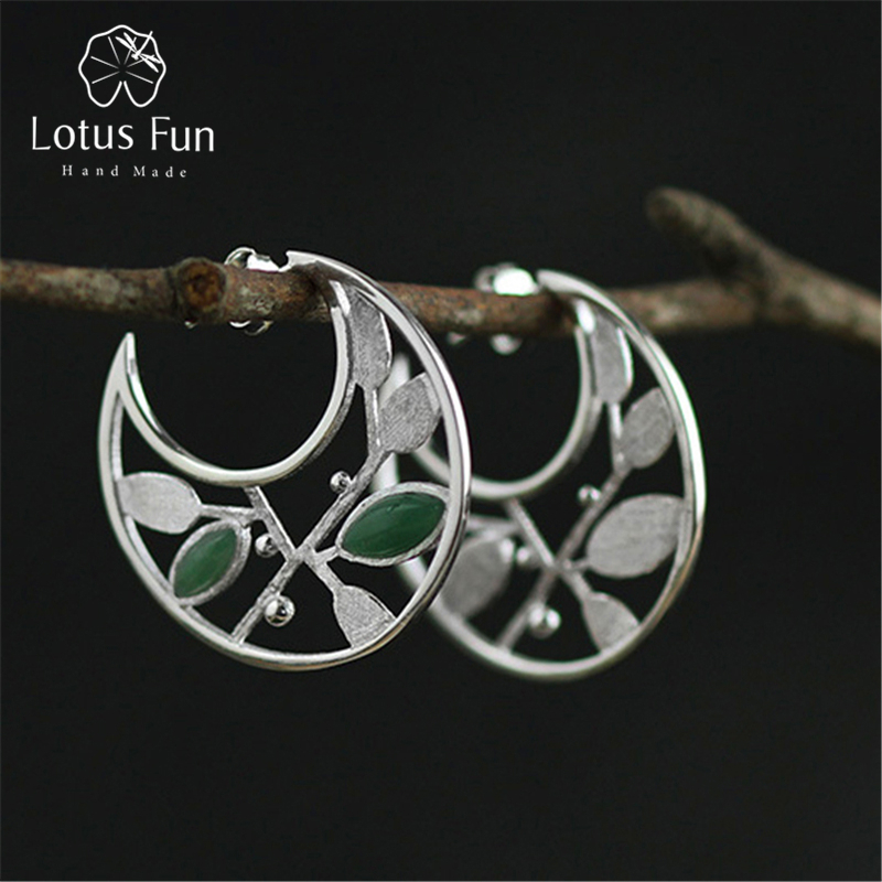 Lotus Fun Real 925 Sterling Silver Natural Creative Handmade Fine Jewelry Spring in the Air Leaves Hoop Earrings for Women