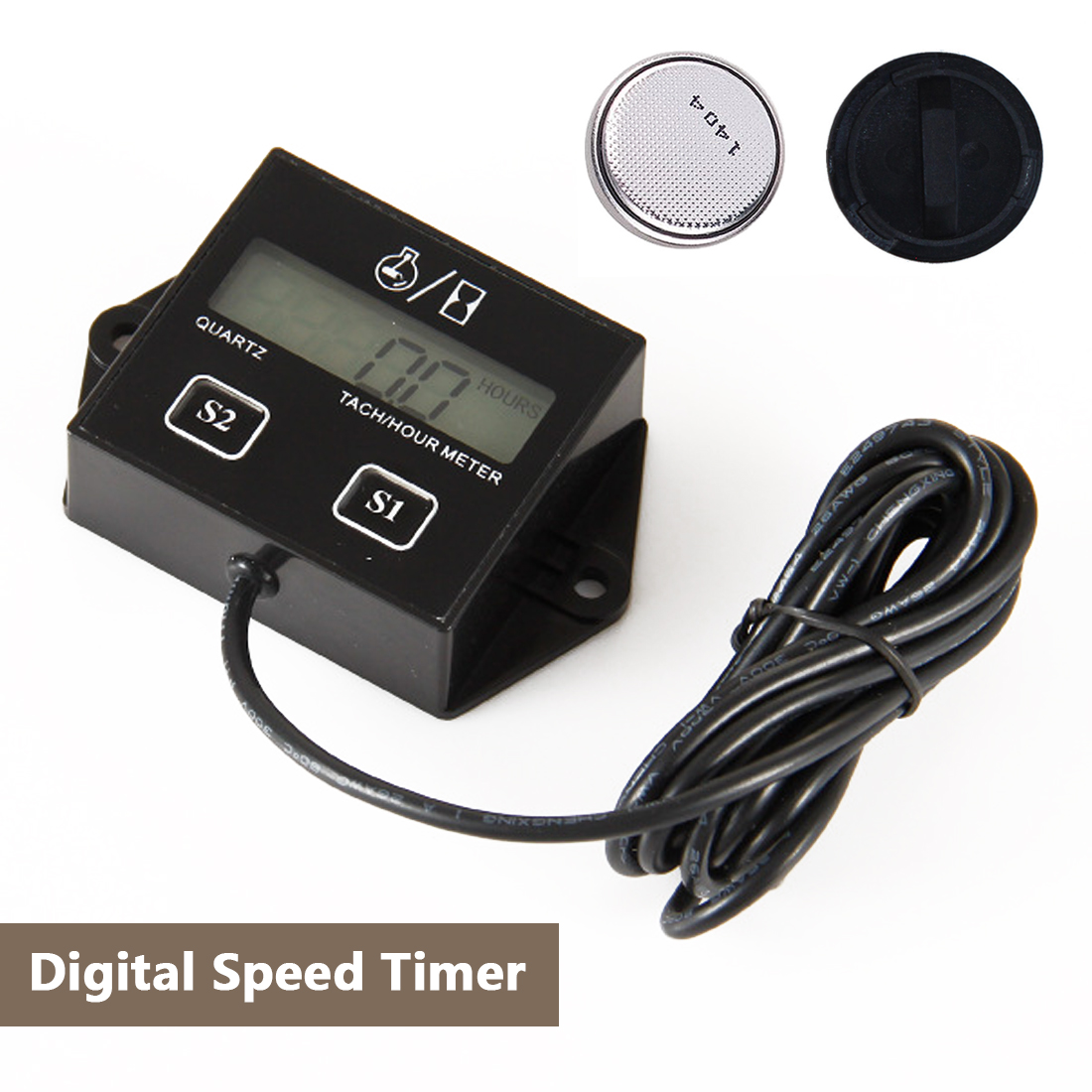 Car Digital Engine Tach Tachometer Hour Meter With Wire Inductive For Motorcycle Car Motor Stroke Engine Replaceable Battery