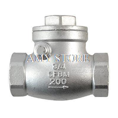New 3/4 Female BSPP 304 Stainless Steel Swing Check Valve WOG 200 PSI PN16 SS304 SUS304