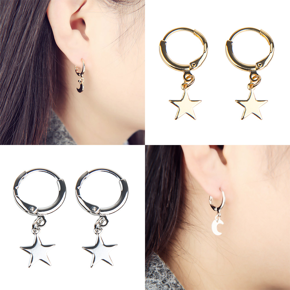 Fashion Five Pointed Earrings Star Moon Ear Ring Popular Joker