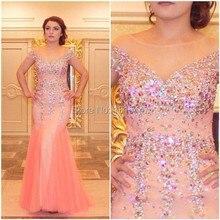 Coral Mermaid Prom Kleider 2017 Crystals Scoop Cap Kurzarm Robe De Soiree Formale Frauen Lange Abendkleider Party Kleider