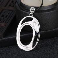 Sterling Silver 925 White Gold Color Semi Mount Pendant Oval Cabochon 18x26mm Amber Agate Turquoise Jewelry