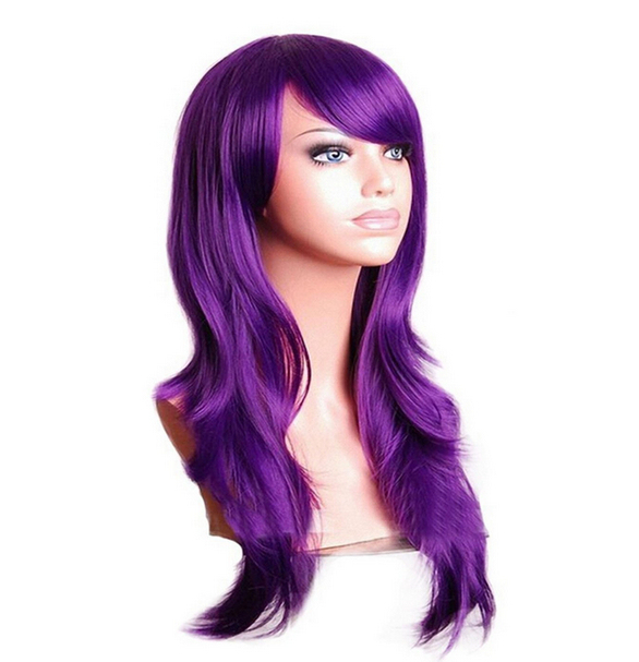 Colorful Long and Wavy Wig with Synthetic Hair