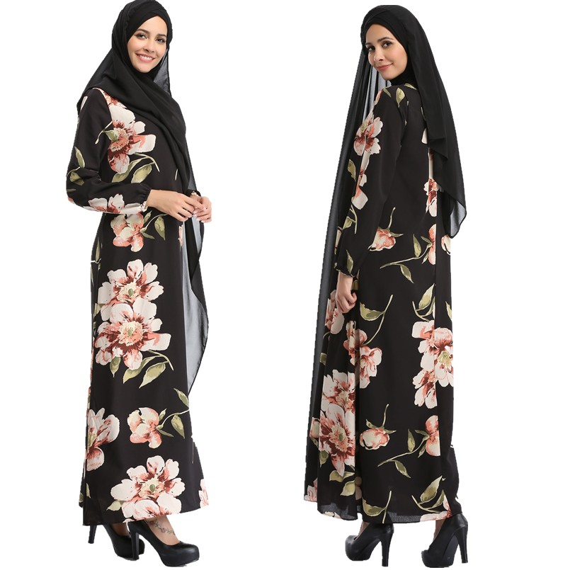 A028 Loose style Flower Print Chiffon two layers Islamic women abaya Retail sale 2017 new style Muslim Fashion Lady Thobe