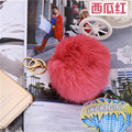 Hot selling friendly Trinket Royal watermelon red Fur Keyring For Lovers 10CM  Rabbit Fur Ball Keyrings Accessories Bag Charm
