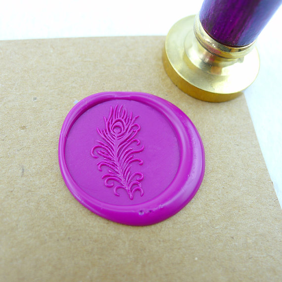 WS031 Peacock Feather Wax Seal Stamp / Peacock logo colorful wooden handle availabled /Holiday gifts beibehang chinese peacock feather flower