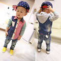 Kids Boys denim pants baby children jeans 2017 new spring wear white hole