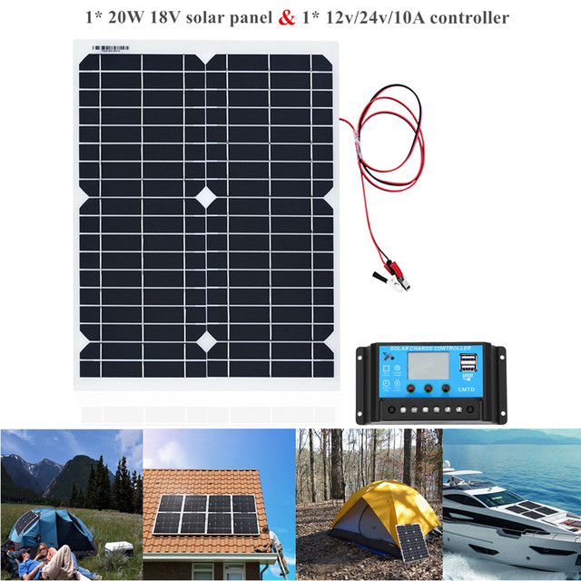 20W Portable Solar Powered Panel Cells Poly Module Battery Charger 1.5m Cable+10A 12V Solar Charge Controller USB Auto Regulator 1