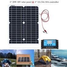 20 ワットポータブルソーラーパネル細胞ポリモジュールバッテリー充電器 1.5 m ケーブル + 10A 12 24v ソーラー充電コントローラ USB 自動レギュレータ