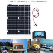 Panel de energía Solar portátil de 20W, celdas, módulo de polímero, cargador de batería, Cable de 1,5 m + controlador de carga Solar de 10A 12V, regulador automático USB