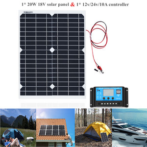 Image 1 - Panel de energía Solar portátil de 20W, celdas, módulo de polímero, cargador de batería, Cable de 1,5 m + controlador de carga Solar de 10A 12V, regulador automático USB