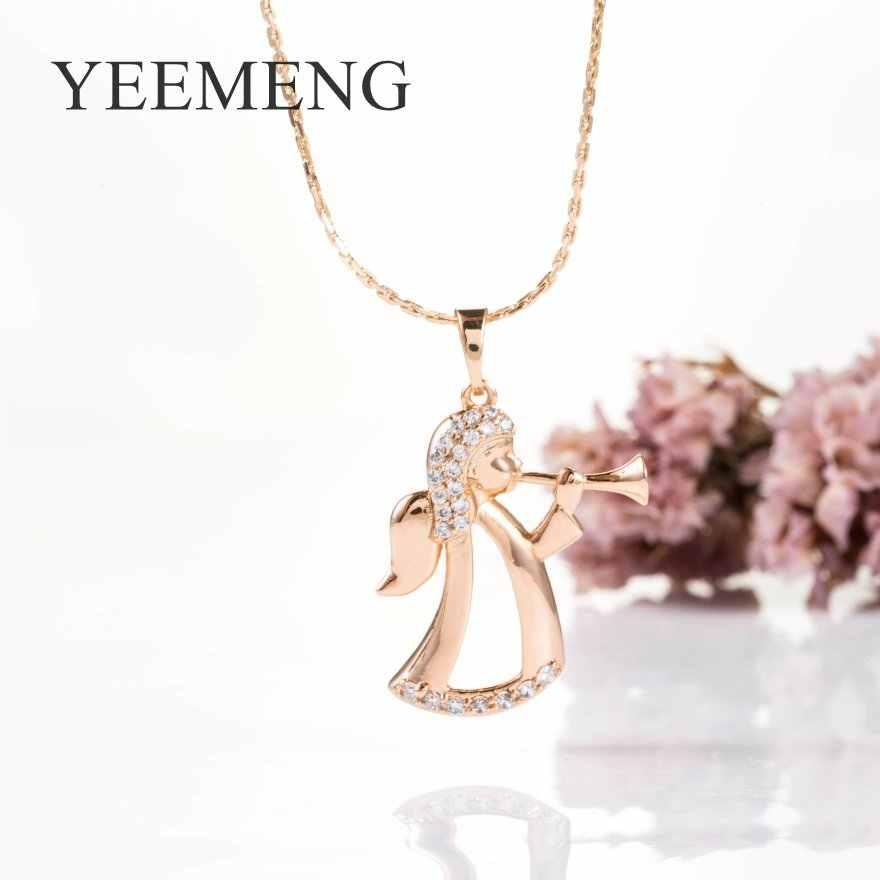 YEEMENG 585 Rose Gold Bijoux 2019 แฟชั่น Angel สร้อยคอน่ารักสร้อยคอจี้ผู้หญิงเครื่องประดับของขวัญเด็ก