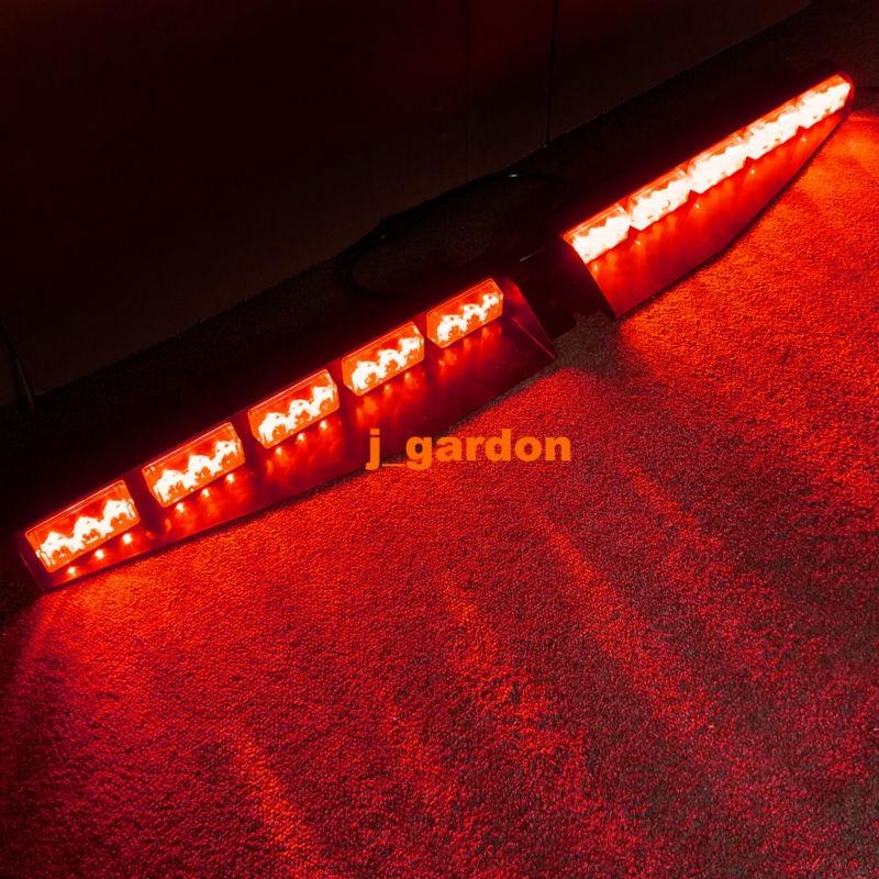 2 x 15 LED 1 Watt Red Emergency Beacon Light Bar Exclusive Split Visor Deck Dash Hazard Strobe Warning LightBar
