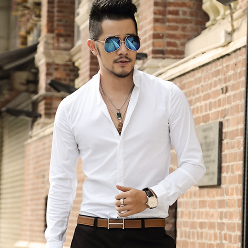2017 Men New Spring Casual Cotton Solid Shirt Men Long Sleeve High Quality Slim Fit England Style Shirts Men Hot Sale Shirts Excellent (In) Quality