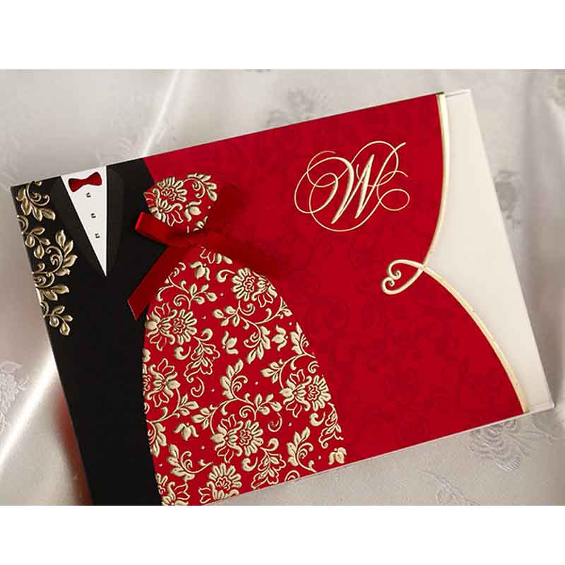 1PCS Wishmade Red Wedding <font><b>Invitations</b></font> Kit with Traditional Chinese Style Bride & Groom Dress <font><b>Blank</b></font> Invites <font><b>Cards</b></font> ,Customizable image