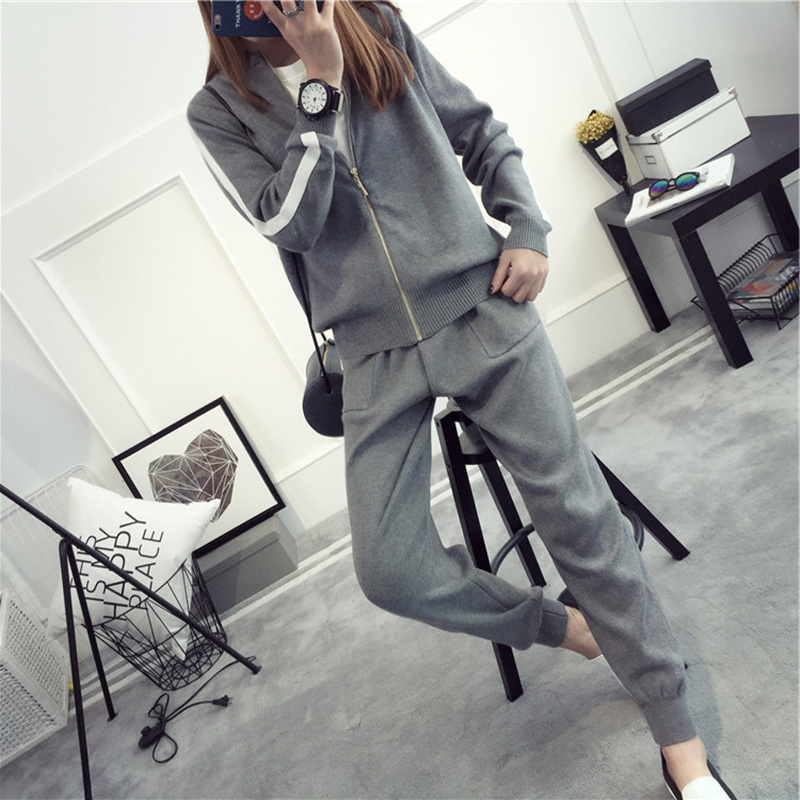 Women Sweater Pantsuit Two Piece Set 2018 Casual Zipper Cardigan Long-sleeved Striped Top And Pants Women Knitted Set