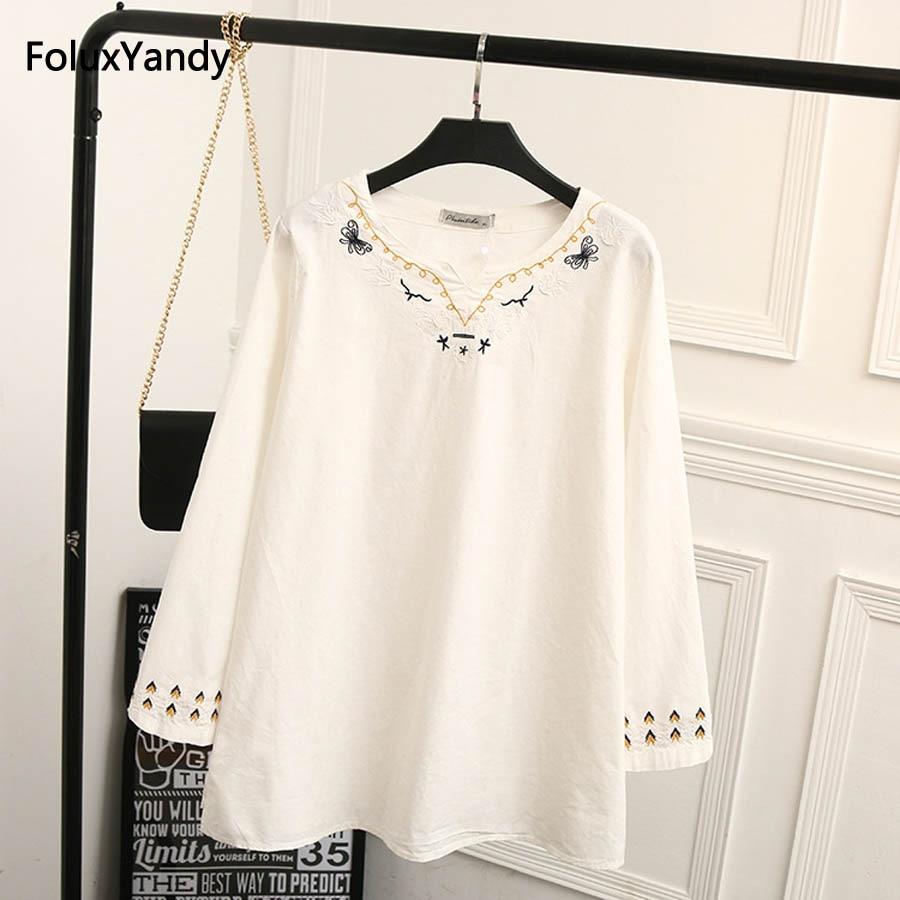 V-neck Women Blouse Shirt New Plus Size 3XL Loose Casual Cotton and Linen White Long Sleeve Blouse KK2440