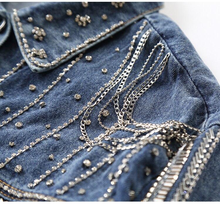 2019 chaqueta de mujer de moda de alta calidad primavera otoño pesado diamante con cuentas abrigo de mezclilla de mujer chaqueta de bombardero Casual de mujer-in chaquetas básicas from Ropa de mujer    3